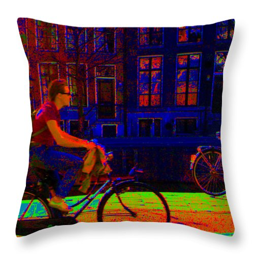 Scottish Art Throw Pillow featuring the photograph By Bicycle Amsterdam by Rodger Insh