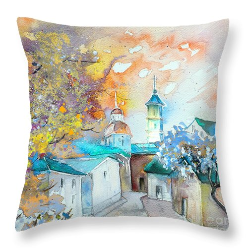 Watercolour Travel Painting Of A Village By Teruel In Spain Throw Pillow featuring the painting By Teruel Spain 03 by Miki De Goodaboom