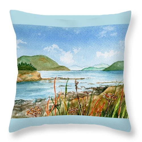 Landscape Throw Pillow featuring the painting By The Bay by Brenda Owen
