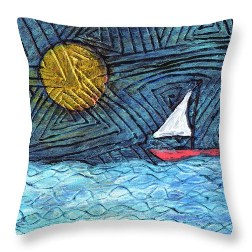 Sail Boat Throw Pillow featuring the painting By The Light Of The Moon by Wayne Potrafka