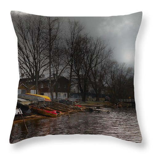 #river#water#sky#clouds#boats#city#country#latvia#travel#art# Throw Pillow featuring the photograph ...by The Pier... by Aleksandrs Drozdovs