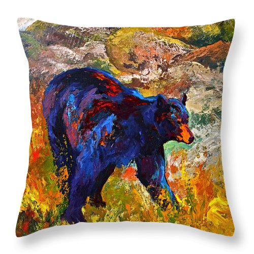 Bear Throw Pillow featuring the painting By The River - Black Bear by Marion Rose