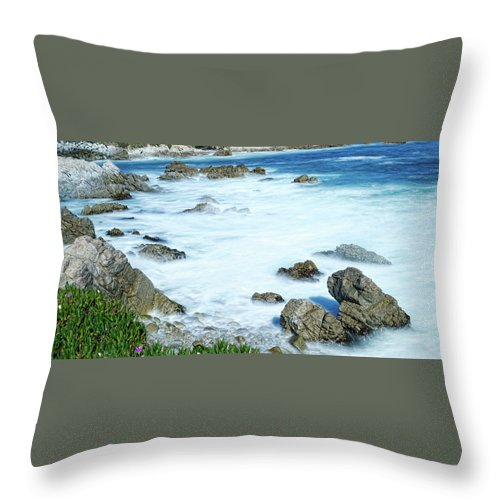 California Throw Pillow featuring the photograph By The Sad Sea Waves by Dennis Bolton
