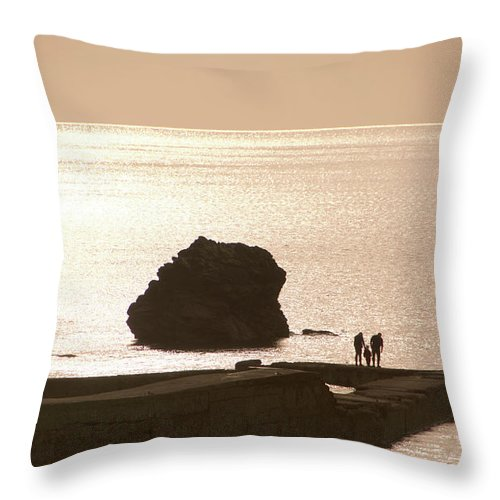 Couple Throw Pillow featuring the photograph By The Sea by Phil Child
