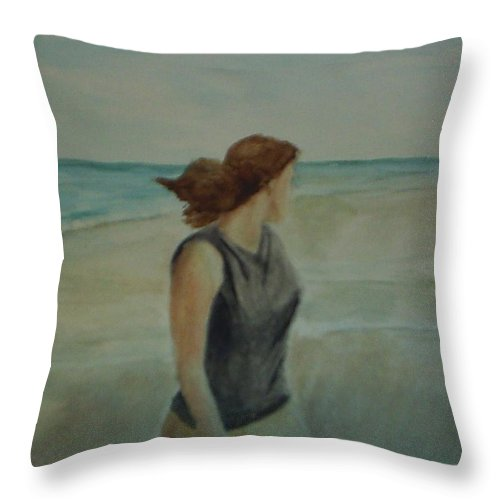 Ocean Throw Pillow featuring the painting By The Sea by Sheila Mashaw