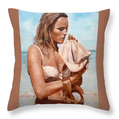 Seascape Throw Pillow featuring the painting By The Seaside by Darko Topalski