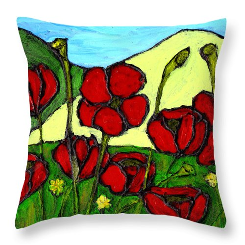 Flowers Throw Pillow featuring the photograph By The Side Of The Road by Wayne Potrafka