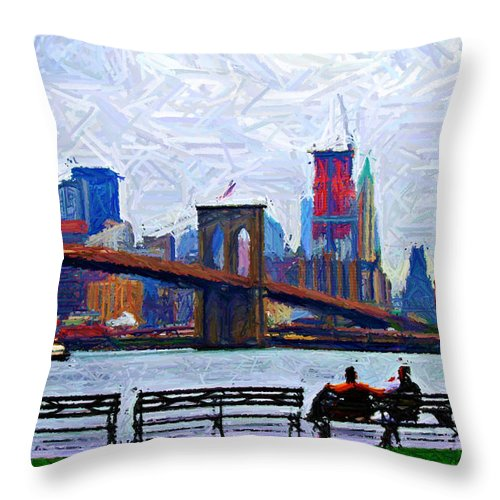 Brooklyn Throw Pillow featuring the digital art By The Water Too Sketch by Randy Aveille