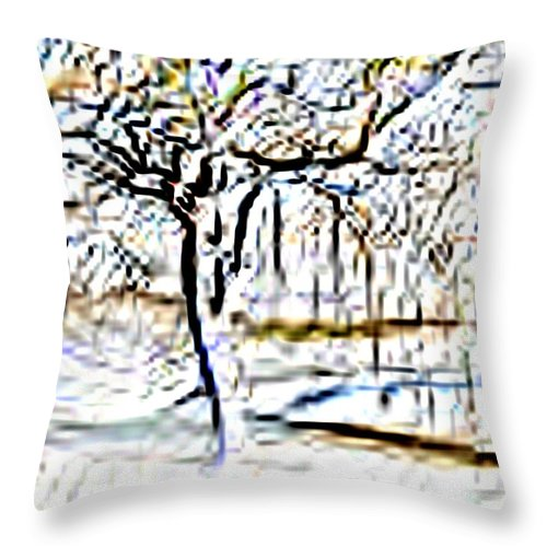 Tree Throw Pillow featuring the photograph By Waters Edge by Tim Allen