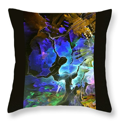 Miki Throw Pillow featuring the painting Bye by Miki De Goodaboom