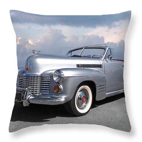 Cadillac Throw Pillow featuring the photograph Bygone Era - 1941 Cadillac Convertible by Gill Billington