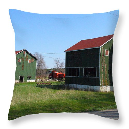 Tobacco Kilns Throw Pillow featuring the photograph Bygone Era by Peggy King
