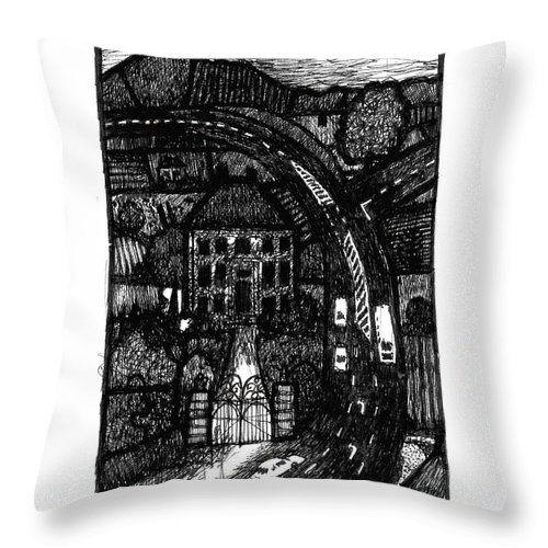 Bypass Throw Pillow featuring the drawing Bypass by Andy Mercer