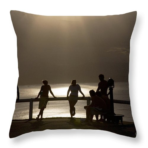 Byron Bay Lighthouse Silhouette Sunset Rays Throw Pillow featuring the photograph Byron Bay lighthouse by Sheila Smart Fine Art Photography