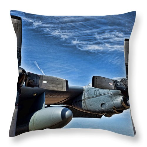 C-130 Throw Pillow featuring the photograph C-130 Hdr by Sheri Bartoszek