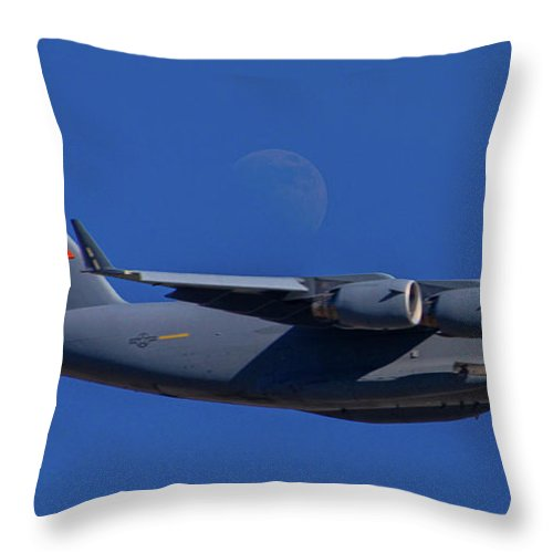 Boeing C-17 Globemaster Iii Throw Pillow featuring the photograph C-17 Globemaster IIi And The Moon by Tommy Anderson
