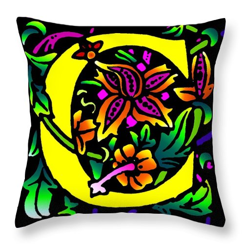 Alphabet Throw Pillow featuring the digital art C In Yellow by Kathleen Sepulveda