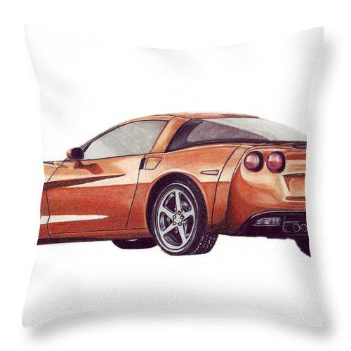 Corvette Throw Pillow featuring the drawing C6 by Kristen Wesch