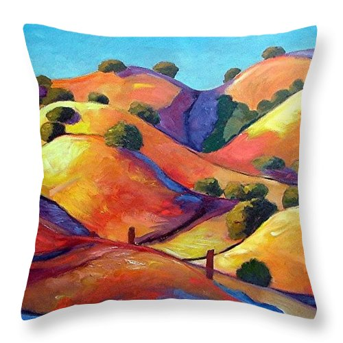 Curves Throw Pillow featuring the painting Ca Rollers by Gary Coleman
