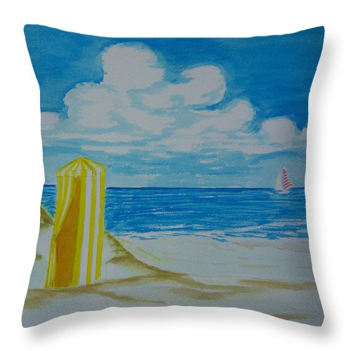 Beach Throw Pillow featuring the painting Cabana On The Beach by Nancy Nuce