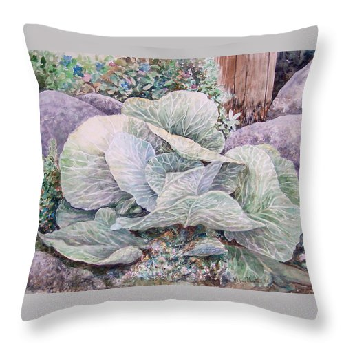 Leaves Throw Pillow featuring the painting Cabbage Head by Valerie Meotti