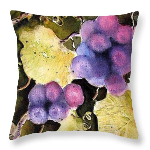 Grapes Throw Pillow featuring the painting Cabernet Harvest 2 by Marti Green