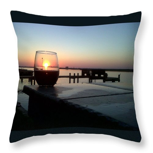 Sunset Wine Cabernet Ocean Dock Throw Pillow featuring the photograph Cabernet Sunset by Cindy New
