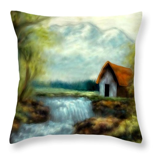 Cabin Throw Pillow featuring the painting Cabin By The River by Rafi Talby