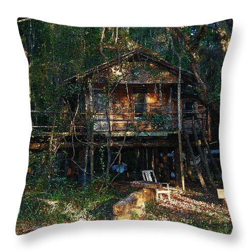 Log Cabin Throw Pillow featuring the digital art Cabin Fever Watercolor by Joseph G Holland
