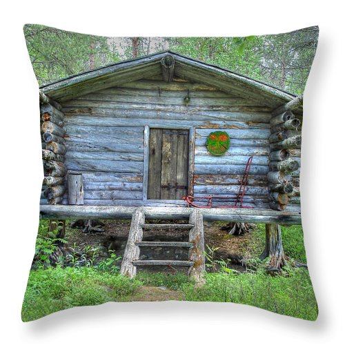 Rustic Throw Pillow featuring the photograph Cabin In Lapland Forest by Merja Waters