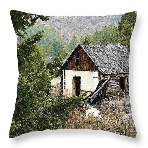 Cabin Throw Pillow featuring the photograph Cabin In Need Of Repair by Nelson Strong