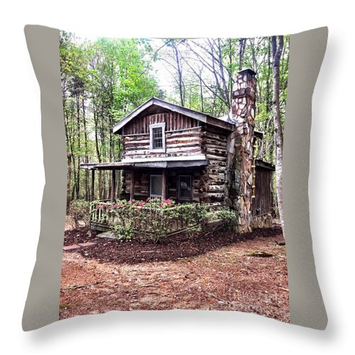 Cabin Throw Pillow featuring the photograph Cabin In The Woods by Ally Flowers