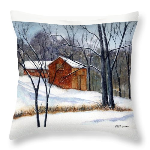 Cabin Throw Pillow featuring the painting Cabin In The Woods by Debbie Lewis
