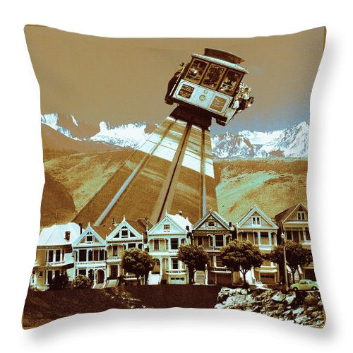 Landscape Throw Pillow featuring the photograph Cable Car Fly - San Francisco Collage by Peter Potter