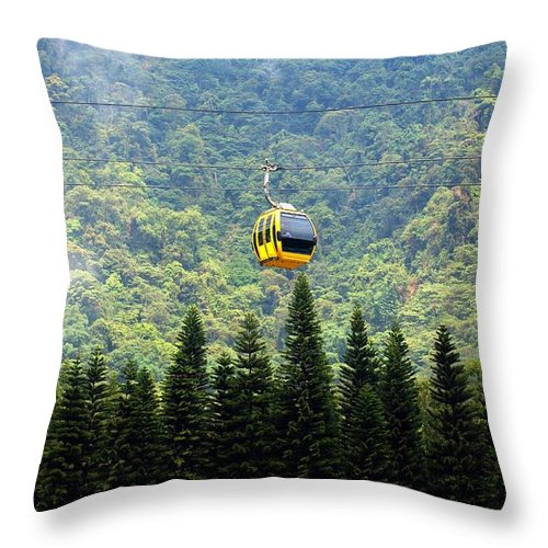 Cable-car Throw Pillow featuring the photograph Cable Car Passes By A Mountain Slope by Yali Shi