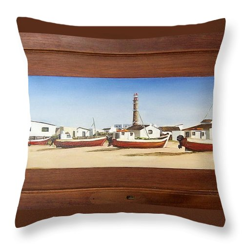 Landscape Seascape Uruguay Beach Boats Sea Lighthouse Throw Pillow featuring the painting Cabo Polonio 2 by Natalia Tejera