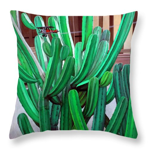 Landscape Throw Pillow featuring the painting Cactus Fly By by Snake Jagger