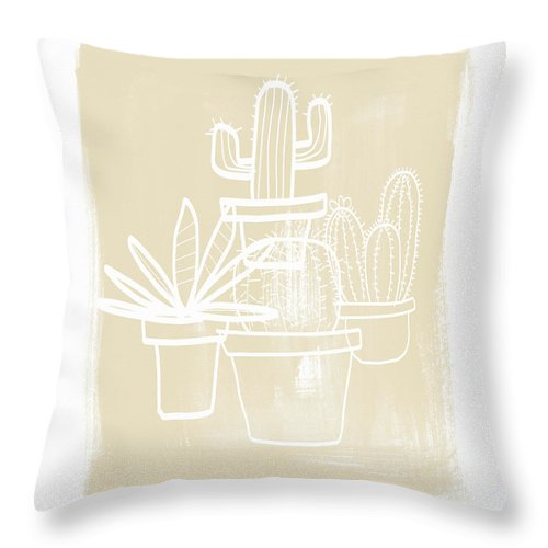 Cactus Throw Pillow featuring the painting Cactus In Pots- Art by Linda Woods by Linda Woods