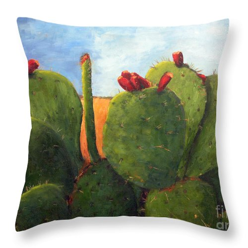 Cactus Throw Pillow featuring the painting Cactus Pears by Chris Neil Smith