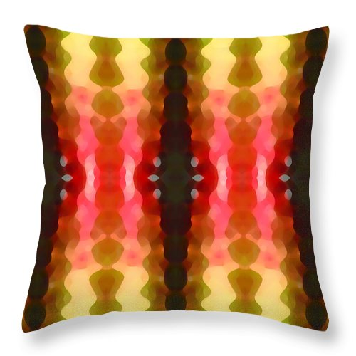Abstract Throw Pillow featuring the painting Cactus Vibrations 2 by Amy Vangsgard