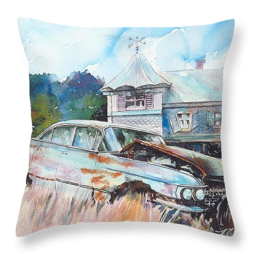 Cadillac Throw Pillow featuring the painting Caddy Sliding Down the Slope by Ron Morrison