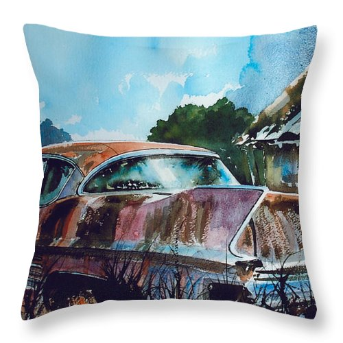 Caddy Throw Pillow featuring the painting Caddy Subsiding by Ron Morrison