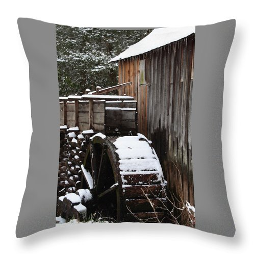 Great Smoky Mountains Throw Pillow featuring the photograph Cades Cove Mill I by Margie Wildblood