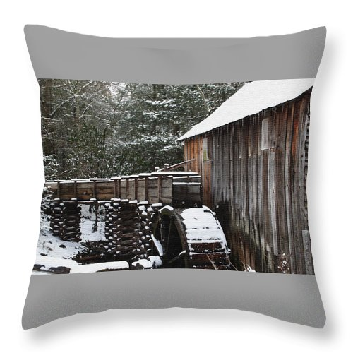 Smoky Mountains Throw Pillow featuring the photograph Cades Cove Mill II by Margie Wildblood