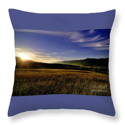 Cades Cove Throw Pillow featuring the photograph Cades Cove Sunrise by Tress Chapin