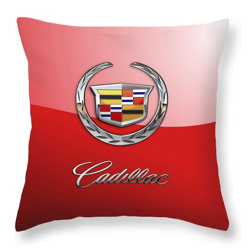 �wheels Of Fortune� Collection By Serge Averbukh Throw Pillow featuring the photograph Cadillac - 3 D Badge on Red by Serge Averbukh