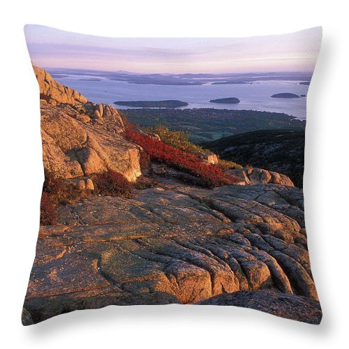 Acadia National Park Throw Pillow featuring the photograph Cadillac Mountain At Sunrise by John Burk