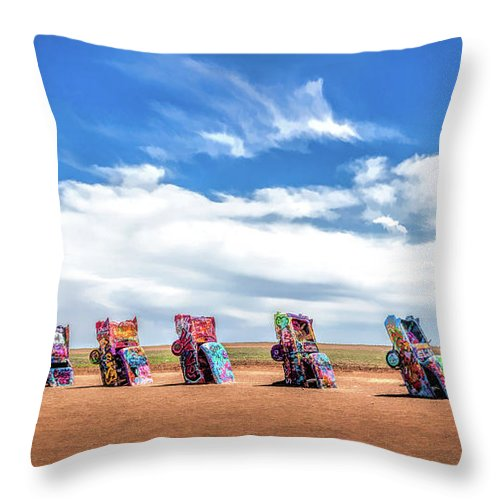 Route 66 Cadillac Ranch Throw Pillow For Sale By Christopher Arndt