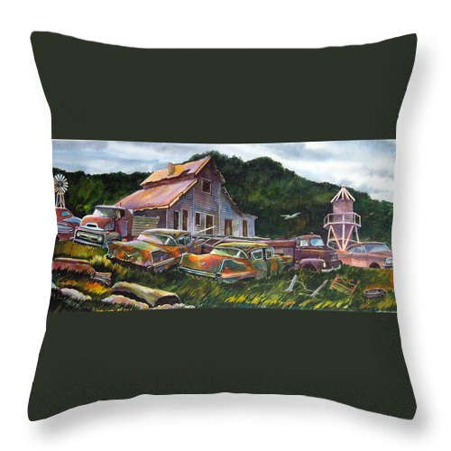 Cadillacs Throw Pillow featuring the painting Cadillac Ranch by Ron Morrison
