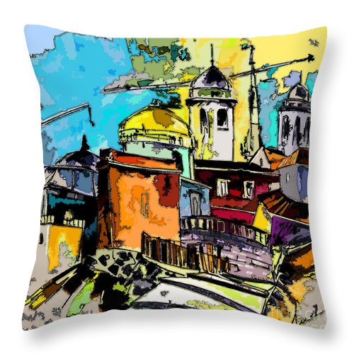 Spain Painting Cadiz Andalusia Throw Pillow featuring the painting Cadiz Spain 02 Bis by Miki De Goodaboom